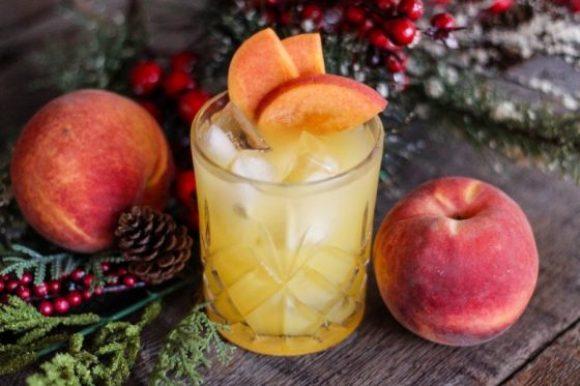 Atlanta-Peach-Cocktail-On-Black-marble